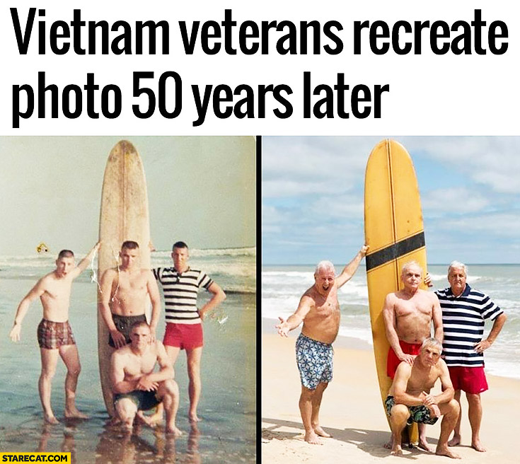 Vietnam veterans recreate photo 50 years later surfing