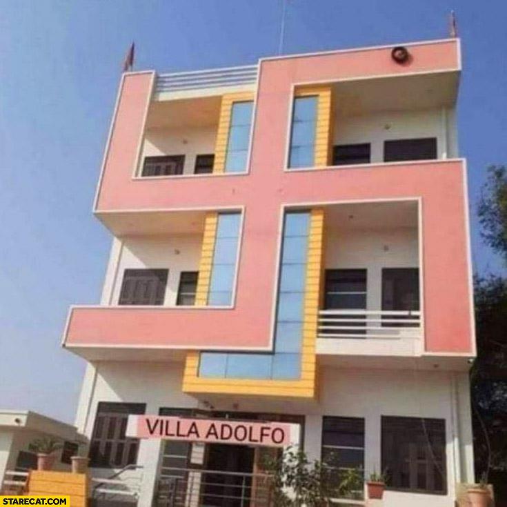Villa Adolfo building with pink Swastika on it