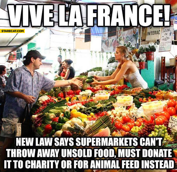 Vive la France new law says supermarkets can't throw away unsold food must donate it to charity or for animal feed instead