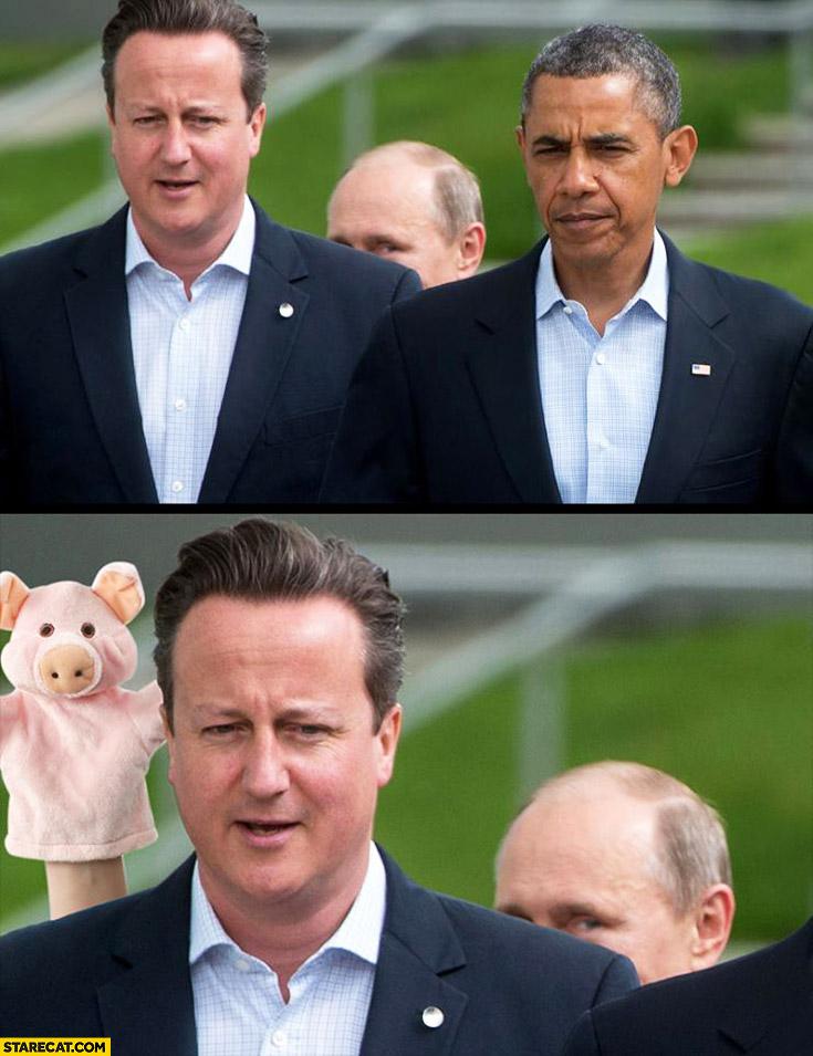 Vladimir Putin hand puppet trolling Barack Obama Cameron