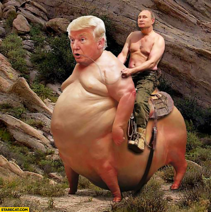 Vladimir Putin riding huge pig with Donald Trump's head