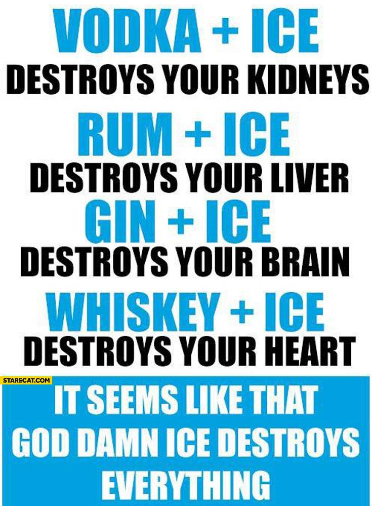 Vodka Rum Gin Whiskey seems like ice destroys everything