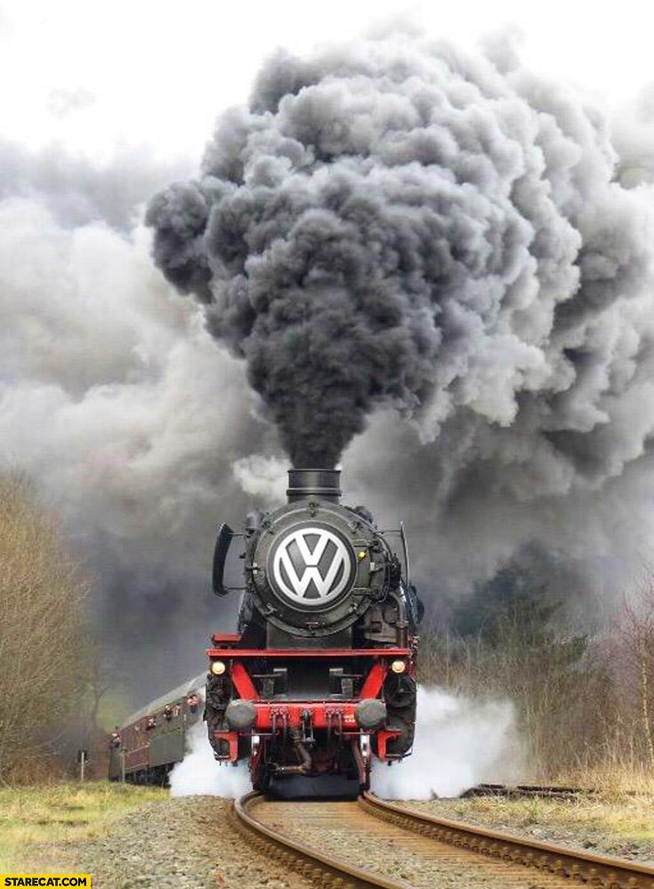 Volkswagen logo steam engine train massive smoke