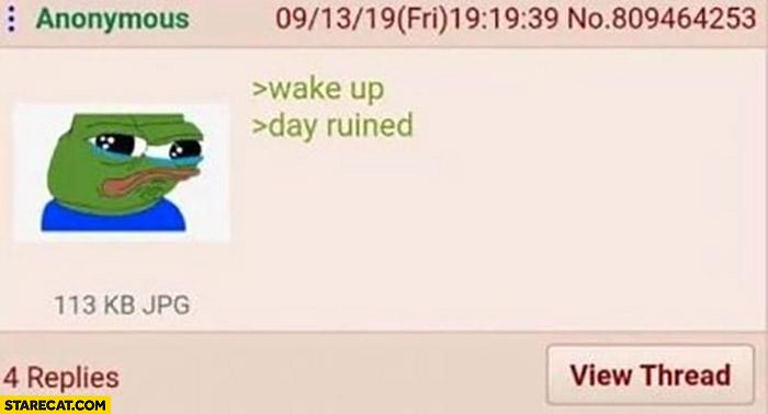 Wake up day ruined sad pepe the frog meme