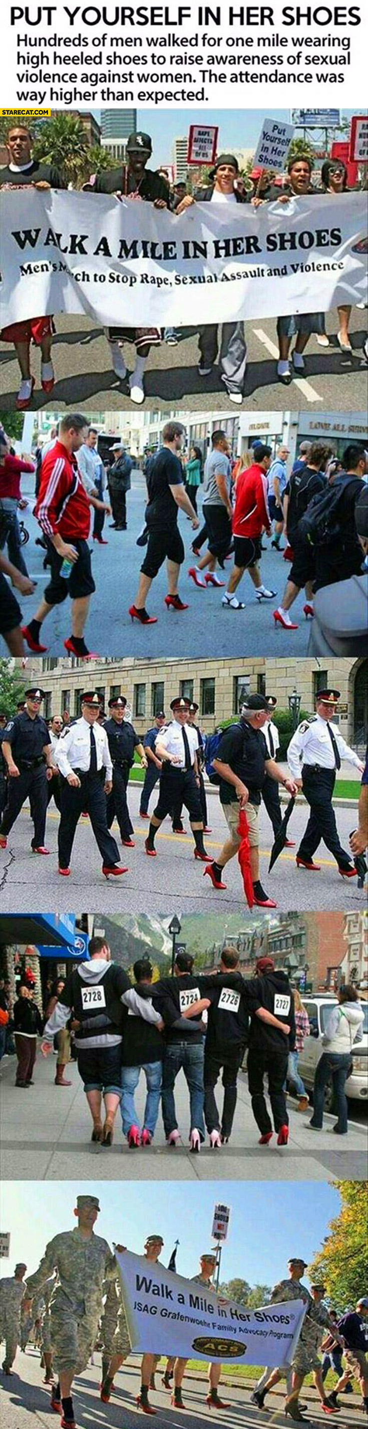 Walk a mile in her shoes men walking in high heels awarness of violence against women