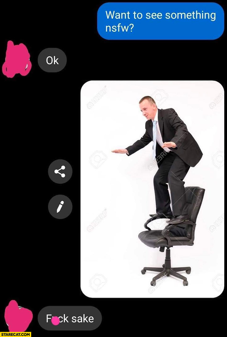 Wanna see something NSFW man riding on a chair not suitable for work