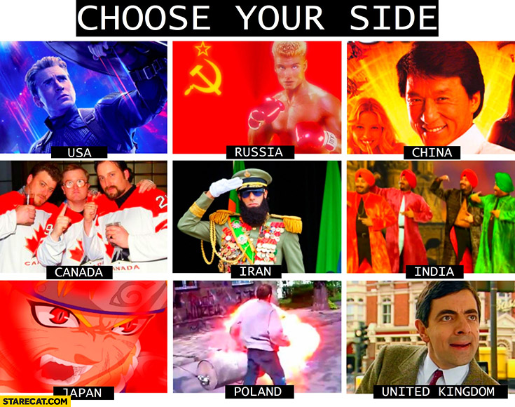 War choose your side countries USA, Russia, China