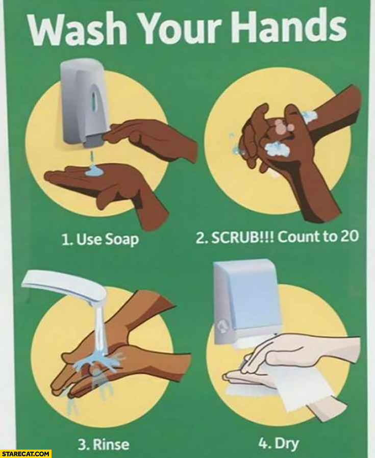 Wash your hands: use soap, scrub, rinse, dry black man becomes white man