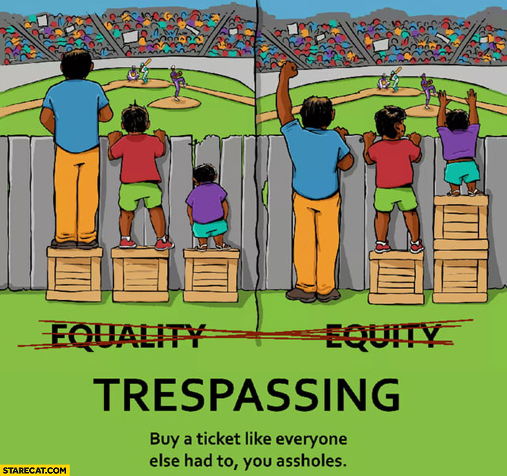 Watching baseball game equality vs equity, actually trespassing, buy a ticket like everyone else had to