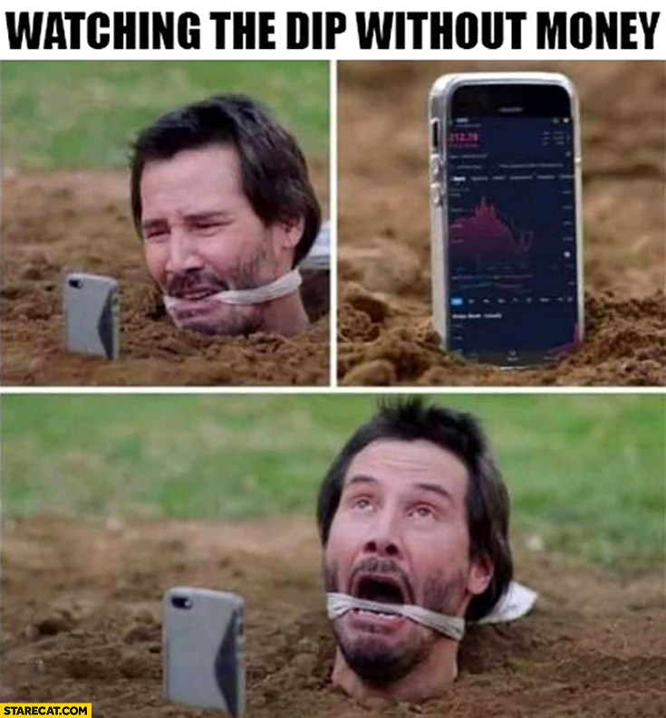 Watching the dip without money Keanu Reeves suffering