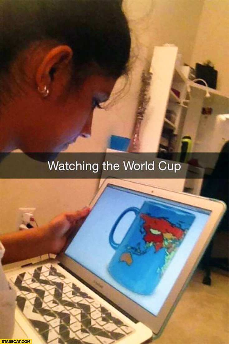 Watching the World Cup – cup with map of the world