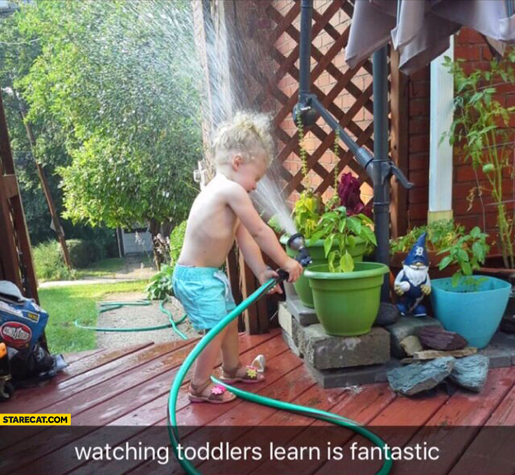 Watching toddlers learn is fantastic kid water fail