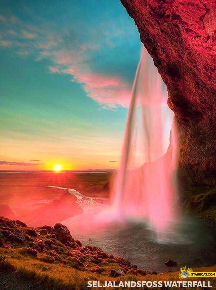 Waterfal Seljalandsfoss sunset
