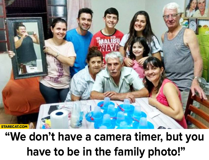 We don't have a camera timer but you have to be in the family photo mirror creative