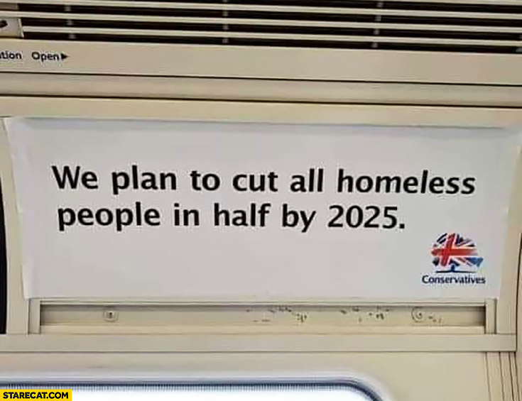 We plan to cut all homeless people in half by 2025 UK conservatives