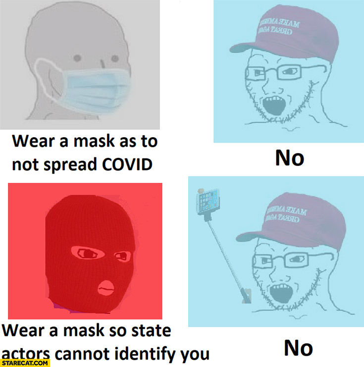 Wear a mask as to not spread covid, so state actors cannot identify you, Trump supporters no to both