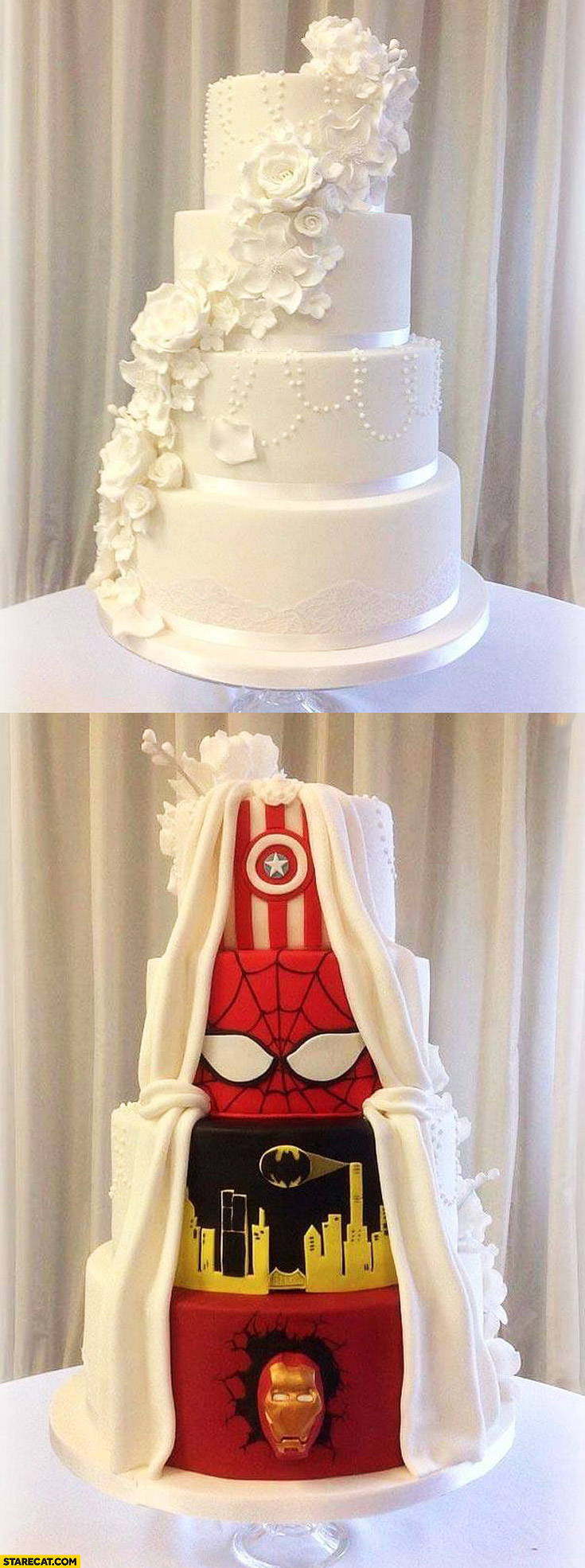 Wedding cake Captain America Spiderman Batman Ironman