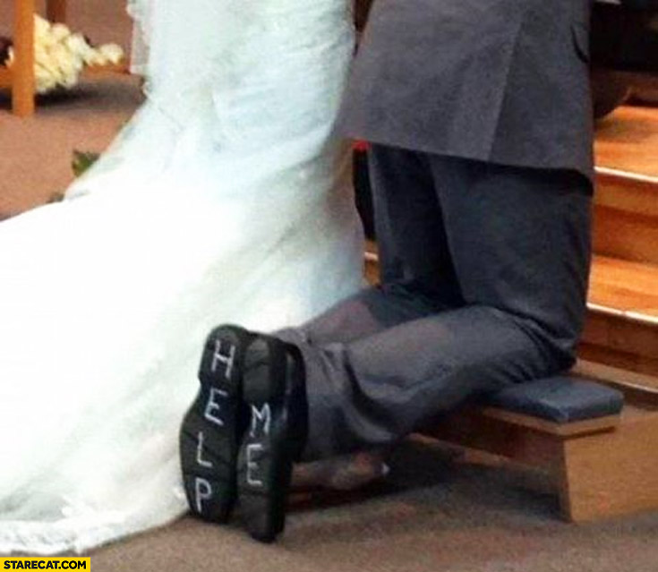 wedding help me written on bottom of the shoes starecat