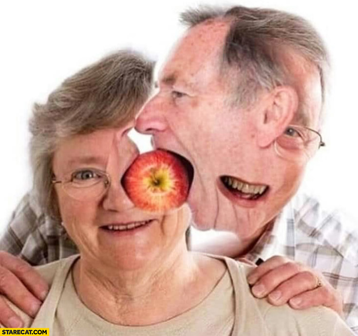 Weird photoshopped old people picture with apple