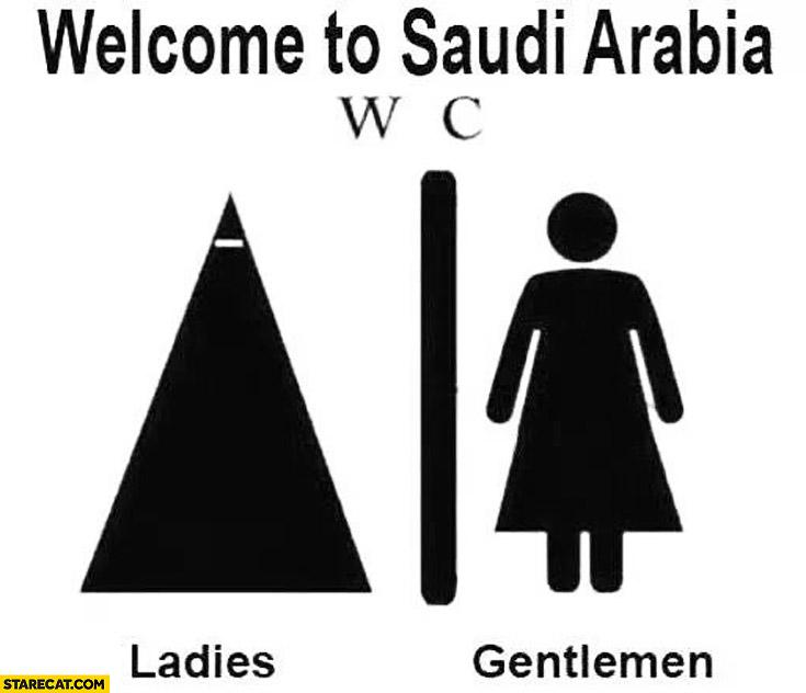 Welcome to Saudi Arabia WC toilet ladies gentlemen symbols dress outfit