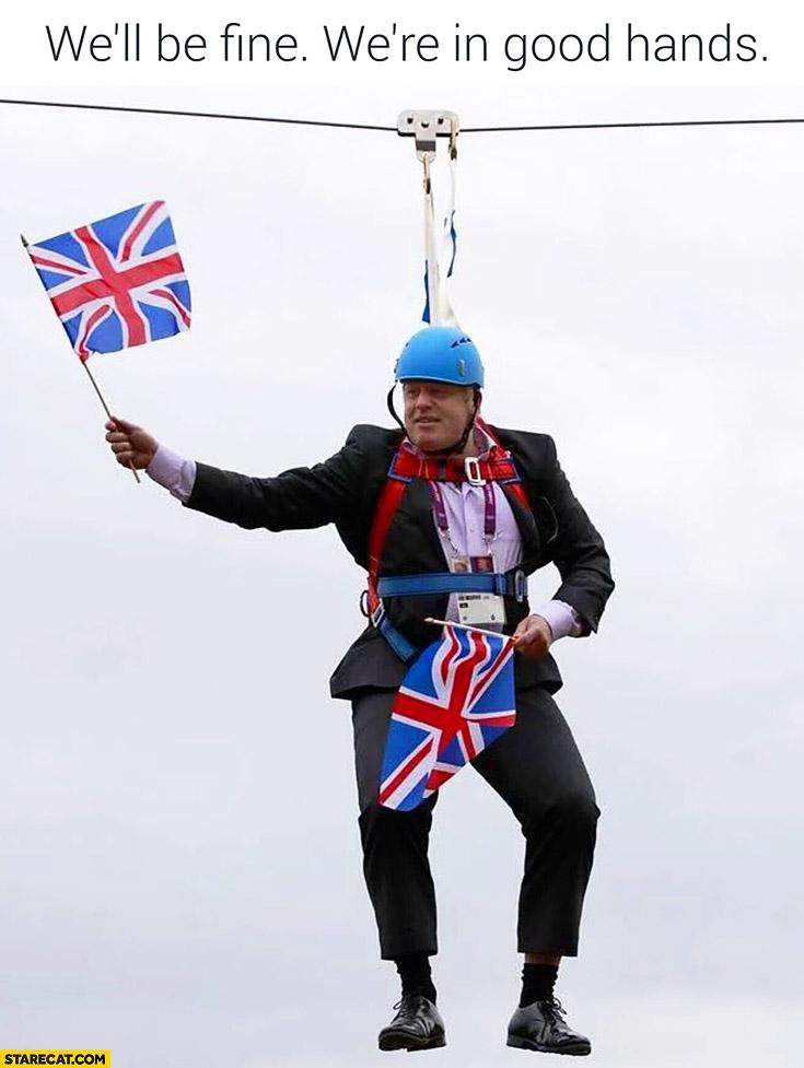 We'll be fine, we're in good hands. Boris Johnson stuck on Victoria Park zipline UK Brexit