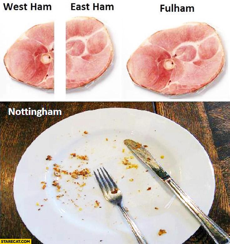 West ham, East ham, Fulham, Nottingham ham pork meat