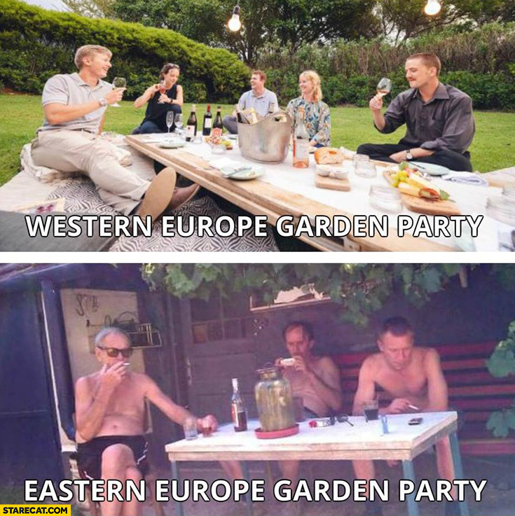 Western Europe garden party vs Eastern Europe garden party comparison