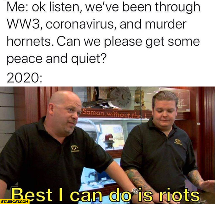 We've been through WW3, coronvirus and murder hornets can we please get some peace and quiet? 2020: best I can do is riots