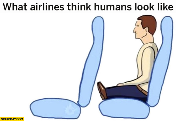 What airlines think humans look like short legs
