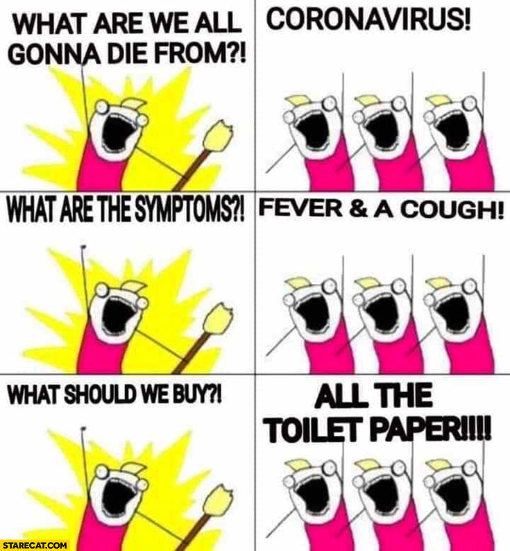 What are we all gonna die from? Coronavirus! What are the symptoms? Fever and cough! What should we buy? All the toilet paper!