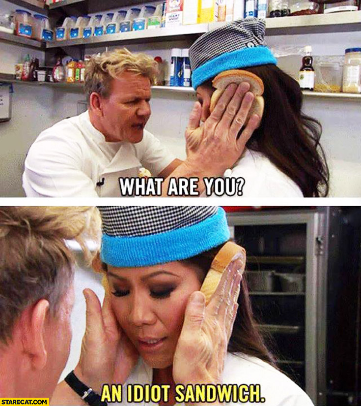 What are you? An idiot sandwich Gordon Ramsay Hell's kitchen