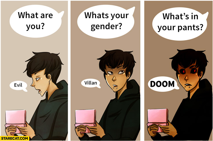 What are you? evil What's your gender? villan What's in your pants? doom