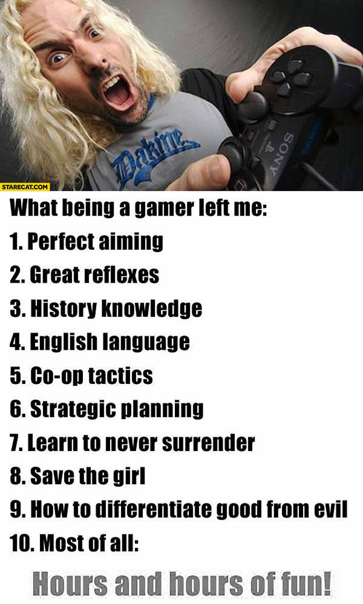 What being a gamer left me list