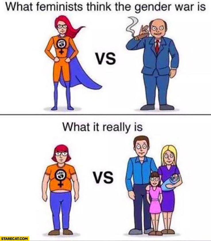 What feminists think the gender war is: hero woman vs bad businessman vs what it really is: fat woman vs family