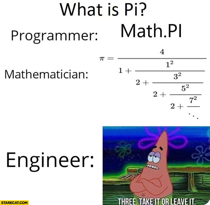What is Pi? Programmer: Math.Pi, Mathematician: equation, Engineer: three, take it or leave it Spongebob