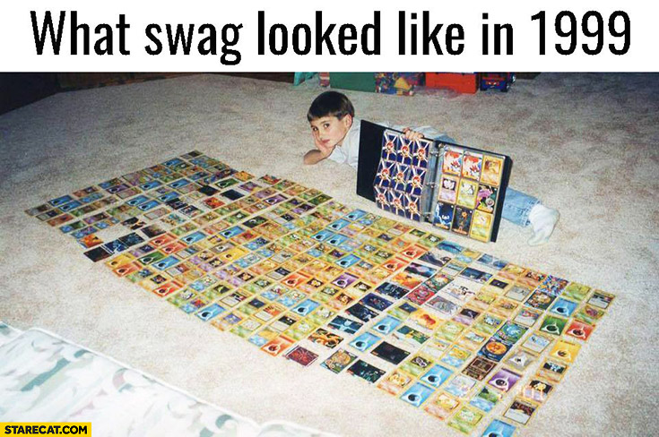 What swag looked like in 1999 kid having all the game cards