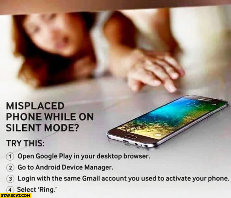 What to do when misplaced Android Phone on silent mode open Google Play go to Android device manager login with Gmail select ring