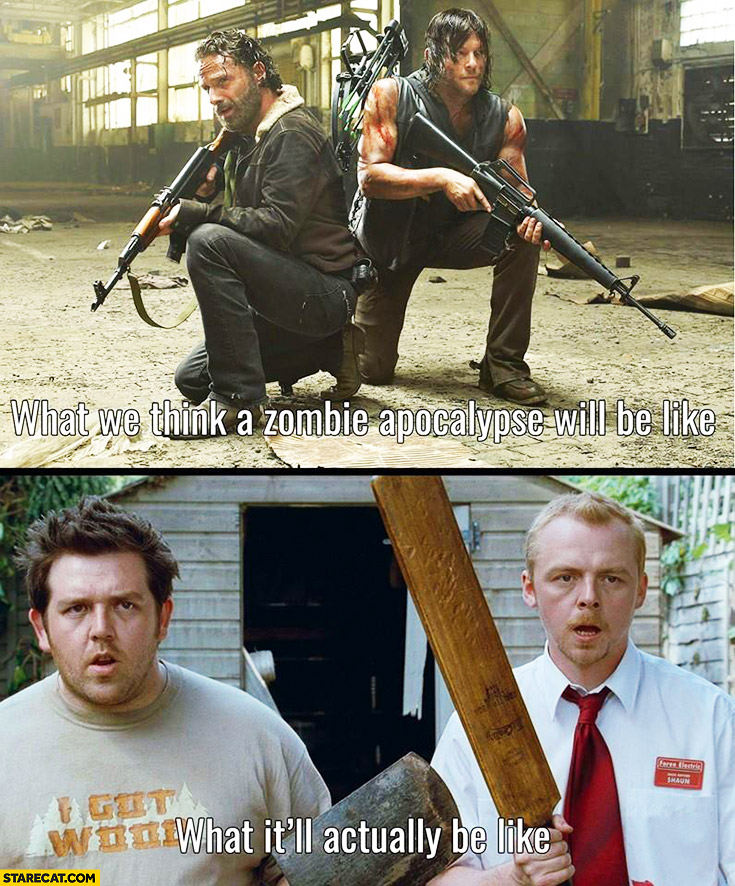 What we think a zombie apocalypse will be like, what it'll acually be like. The Walking Dead, Shaun of the Dead