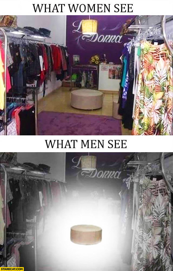 What women see vs what men see in clothes shop – only place to sit