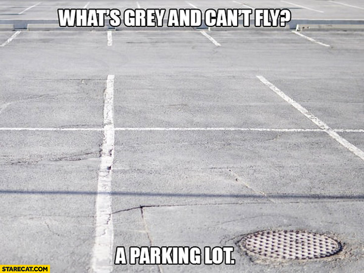 What's grey and can't fly? A parking lot