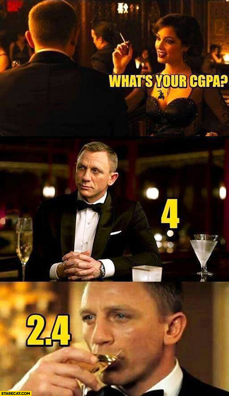 What's your CGPA? 4. 2,4 James Bond Daniel Craig