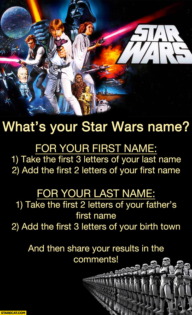 What's your Star Wars name? trivia
