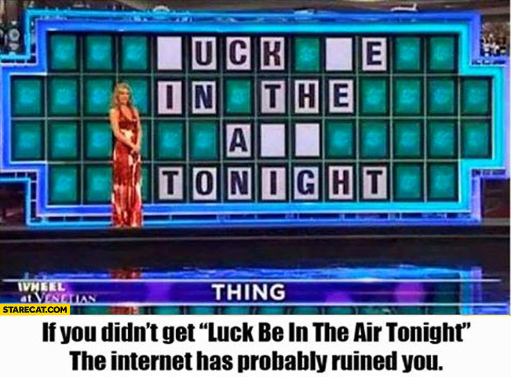 Wheel of fortune luck be in the air tonight