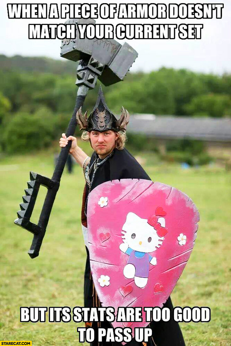 When a piece of armor doesn't match your current set but it's stats are too good to pass up Hello Kitty shield pink