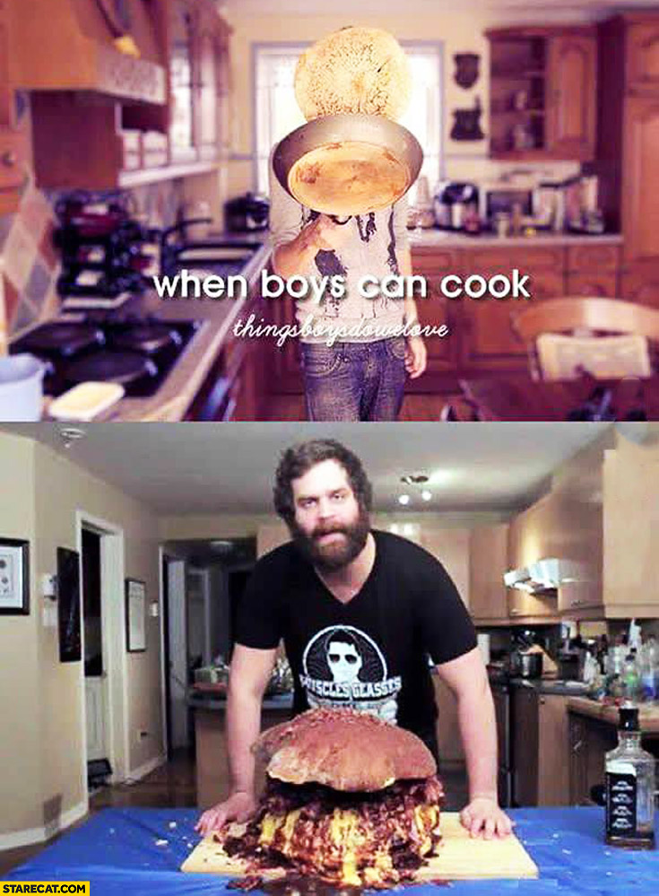 When boys can cook huge beef burger