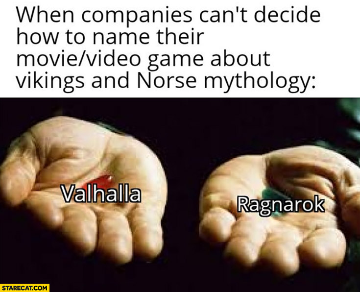 When companies can't decide how to name their movie video game about vikings and Norse mythology: Valhalla, Ragnarok