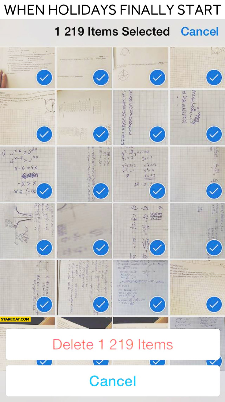When holidays finally start deleting school related photos from iPhone
