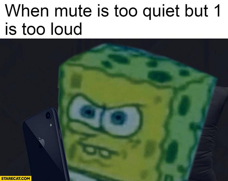 When mute is too quiet but 1 is too loud Spongebob iPhone