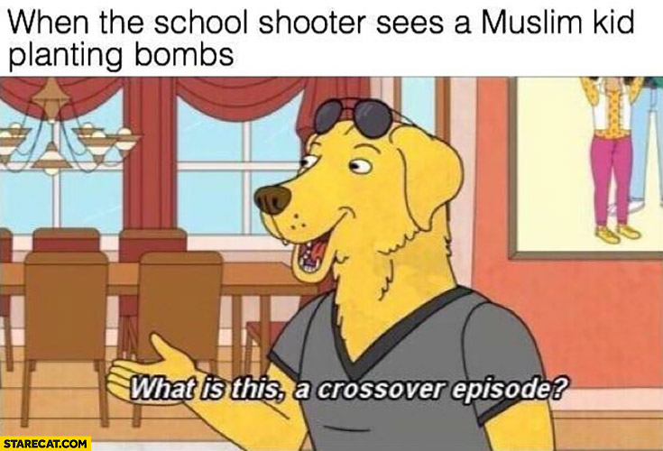 When the school shooter sees a muslim kid planting bombs, what is this a crossover episode?