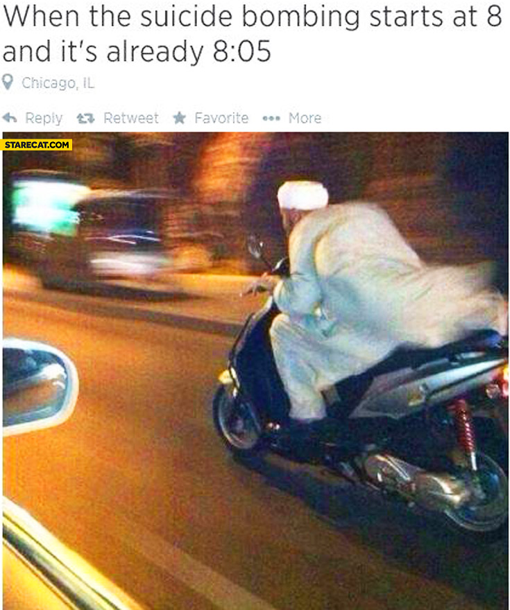 When the suicide bombing starts at 8:00 and it's already 8:05